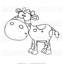 vector clipart of a coloring page of a baby cow by hit toon 17