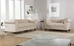 furniture two cream fabric chesterfield sofa with round side