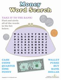 word search fun money spelling worksheets word search and