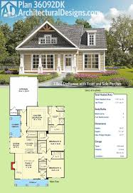 covered porch house plans architectural designs 3 bed craftsman house plan 36092dk has a