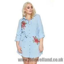 quiz curve light blue and pink flower embroidered shirt dress