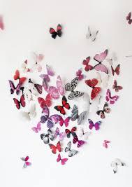 wall art ideas design heart shaped fabric cloth butterflies for