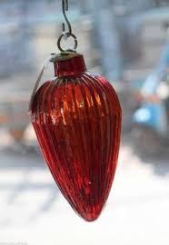 vintage german ribbed glass oval shape ornament kugel