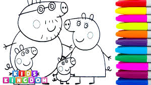 coloring pages for children peppa pig daddy pig mummy pig george