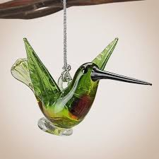 glass ruby throated hummingbird ornament to the nines mw