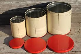 vintage metal kitchen canister sets century vintage metal kitchen canisters w bright fruit print