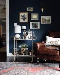 Blue Living Room Walls by Is This The End Of The Bar Cart Dark Living Rooms Brass Bar