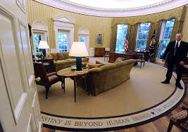 President Obama In The Oval Office President Obama Installs Appropriately Less Optimistic Rug In The