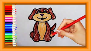 step by step how to draw pet dog for kids simple coloring pages