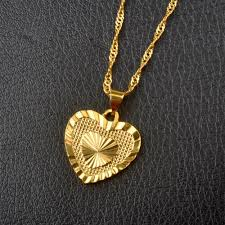 metal heart necklace images Romantic gold tone heart pendant necklace hautify jpg