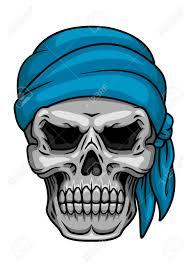 pirate skull in blue bandana for piracy halloween or tattoo