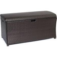 Outdoor Storage Bench Waterproof Keter Borneo 110 Gal Deck Box In Brown 211359 The Home Depot