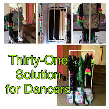 portable dance recital stand using thirty one s deluxe utility thirty one deluxe utility tote as a mobile rack for dance costumes