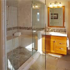 Decorative Tile Borders Beige Walls Decorating Bathroom Rustic With Wood Vanity Shower