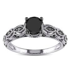 black band engagement rings miadora 10k white gold 1 1 4ct tdw black diamond engagement