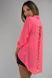 neon blouse braid cutout with gold studs blouse neon pink haute rebellious