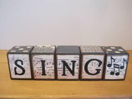 Decorative Letter Blocks For Home Custom Wood Letter Blocks Sing Music Home Decor Vintage Sheet
