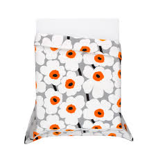 Orange King Size Duvet Covers Marimekko Unikko Grey White Orange Duvet Set Marimekko Utö White