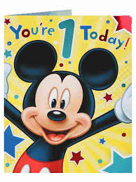 Mickey Mouse 1st Birthday Card Disney Mickey Mouse Stars And Circles 1st Birthday Card Clintons