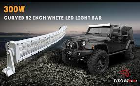 52 inch curved light bar cover amazon com yitamotor 52 inch white curved led light bar 300w spot