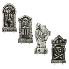halloween haunters x 4 scary graveyard reaper rip foam tombstone
