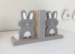 bunny bookends bunny bookends gray woodland nursery children s bookends