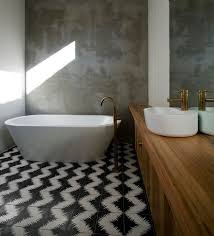 creative geometric tile ideas that bring excitement your home rendered concrete walls the bathroom stand contrast geometric cement tiles design