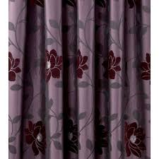 Aubergine Curtains Sundour Carnaby Aubergine Floral Pencil Pleat Ready Made Curtains