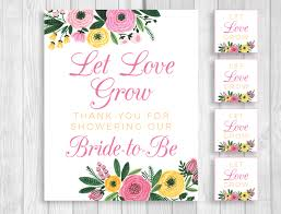 let love grow 8x10 printable bridal shower sign and matching