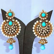 designer turquoise jhumka earrings boontoon