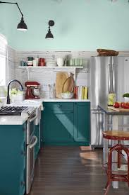 peacock blue kitchen cabinets design ideas