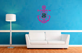 anchor monogram wall decal monogram rounded font anchor circle