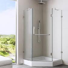 Shower Door Magnetic Strips by Shop Vigo Piedmont 36 In To 36 In Frameless Brushed Nickel Hinged