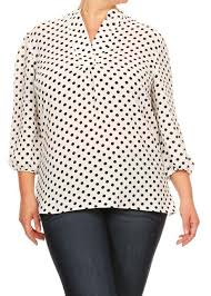 plus size white blouses white black polka dot mandarin blouse plus size modli