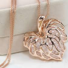 long chain crystal necklace images Women 39 s hollow gold silver heart crystal rhinestone pendant long jpg