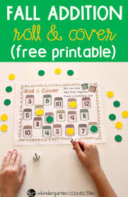 fall addition roll and cover free preschool printable activity