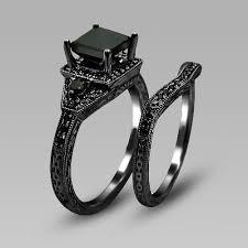 black wedding ring set black zircon prong black gold filled women s wedding ring set