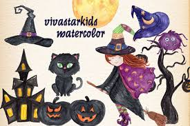 watercolor halloween kids clipart by vi design bundles