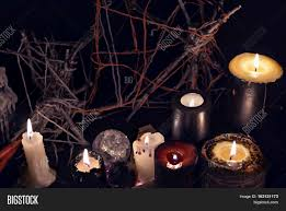 magic halloween background black magic candles against evil background halloween concept