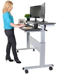 Stand Up Computer Desk Adjustable Stand Up Computer Desk Crank Adjustable Sit To Stand Two Tier Desk