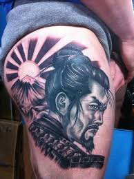japanese samurai design on thigh afro samurai