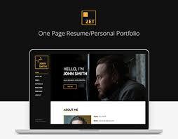 personal portfolio template zet one page resume personal portfolio html template on behance