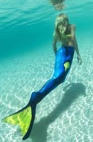blue yellow mermaid tail blue tag limited edition fin fun