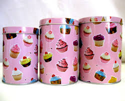 cupcake canisters for kitchen set of 3 small cupcake design canisters tins kitchen food storage