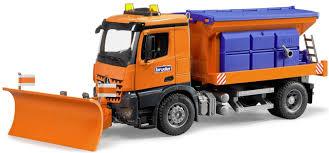 bruder excavator bruder 03685 mb arocs snow plow truck factory ebay