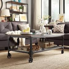 Wooden Coffee Table With Wheels by Dark Metal Wooden Coffee Table With Wheels Mixed High Corner