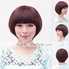 Mushroom Hairstyle Short Synthetic Full Bang Wigs Mushroom Hairstyle 3 Colors