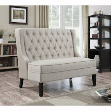 circle banquette settee lobby sofa furniture linen button tufted upholstered banquette settee bench is