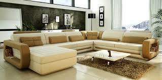Modern Sofa Set White Living Room White Tile Flooring Grey Sectional Leather Sofa Dark