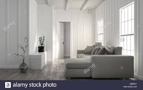 minimalist bright white living room interior with wood panelled